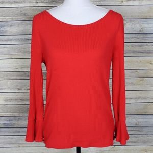 J Crew Ribbed Bell Sleeve Top H0730 Red Medium
